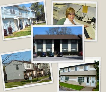 From her desk, Aura Woodruff reviews photos or Meadow Ridge, Meadow Ridge II, Stone Gate & Hickory Glade Apartments