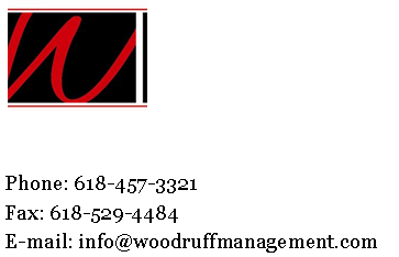 The Red and Black Woodruff Management logo symbolized quality Carbondale Rental Property Management